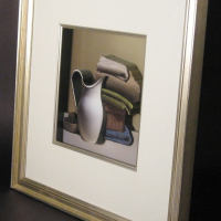 3D White Pitcher and Towels Still Life