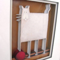 White Cat with Red Ball