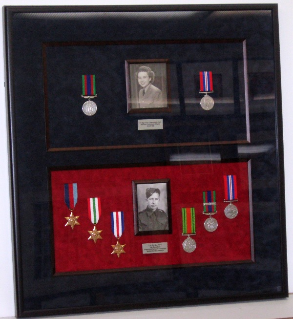 ww-II medals combination shadow box