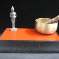 Gray and Orange Shelf