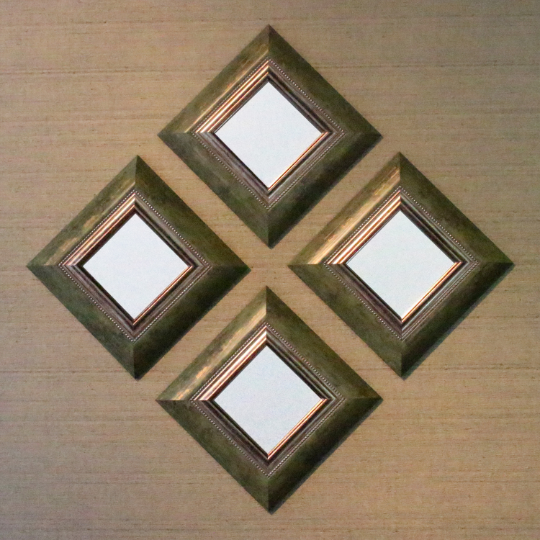 Emerald Green Gold Beaded Wooden Framed Mirrors