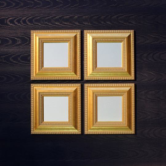 Antique Golden Ornated Small Square Wooden Framed Mirrors