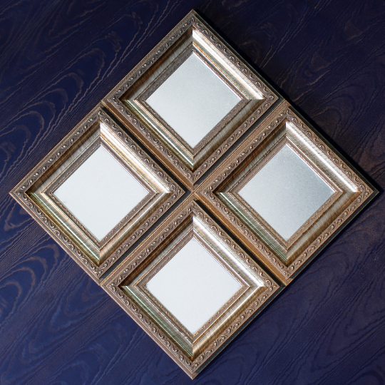 Antique Geometrical Metallic Framed Square Diamond Small Mirrors