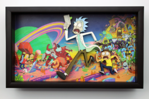Rick and Morty Cartoon Anime One of a Kind 3D Art Wooden Framed Shadow Box