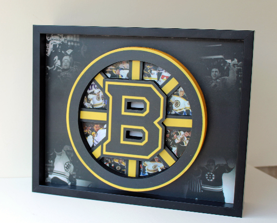 Boston Bruins NHL Hockey 3D Pop Up Art Shadow Box