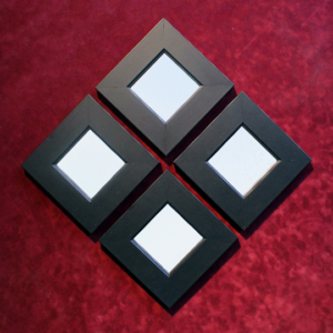 One of a Kind Framed Wooden Wall Decoration Square Geometric Mirrors