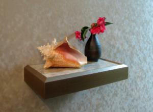 Modern Square Metallic Silver Floating Custom Wooden Wall Mount Ledge Shelf