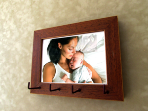 Art Photo Frame Keyholder Key Hooks Wooden Decoration Organizer