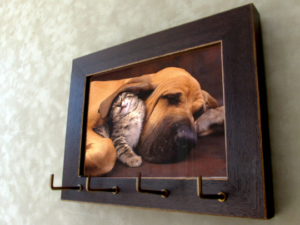 Art Picture Brown Gold Frame Keyholder Wood Organizer Wooden